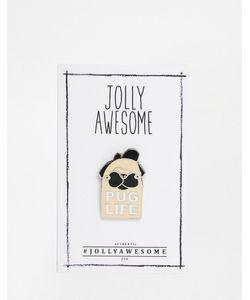 Jolly Awesome | Эмалированный Значок Pug Life Мульти