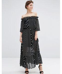 Asos | Платье Макси В Горошек С Открытыми Плечами Мульти