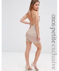 ASOS PETITE | Облегающее Платье Мини В Рубчик С Глубоким Вырезом Сзади