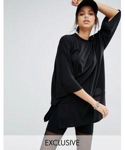 Bones | Двухслойное Платье Из Плотного Трикотажа С Короткими Рукавами Черный