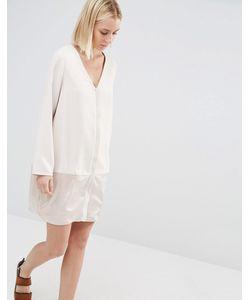 Paisie | Цельнокройное Платье С Атласной Вставкой Телесный