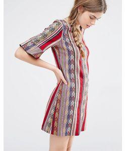Anna Sui | Цельнокройное Платье В Полоску Малиновый Многоцветный