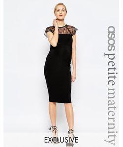 ASOS Maternity | Облегающее Платье Миди С Кружевной Вставкой Petite Черный