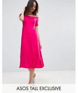 ASOS TALL | Приталенное Платье Миди С Вырезом Сердечком И Сборками