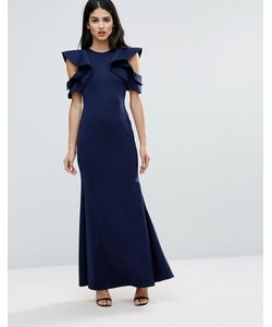Club L | Scuba Fishtail Maxi Dress With Extreme Ruffle Sleeve