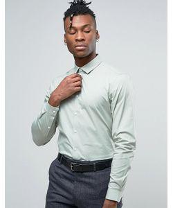 Asos | Узкая Эластичная Рубашка Шалфейного Цвета