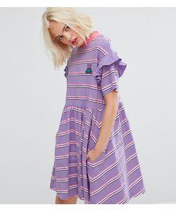 Lazy Oaf | Свободное Платье В Полоску С Короткими Рукавами