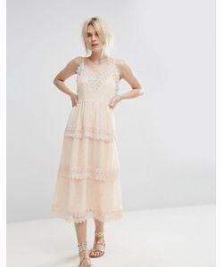 Vero Moda   Кружевное Ярусное Платье Миди