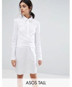 ASOS TALL   Cotton Wrap Front Shirt Dress