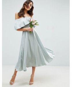 Asos | Платье Миди С Широким Вырезом И Отворотом Wedding