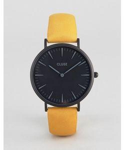 Cluse | Часы С Черным Циферблатом И Горчичным Кожаным Ремешком La Boheme