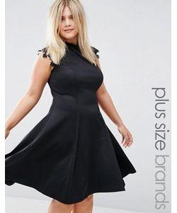 Praslin | Короткое Приталенное Платье С Кружевными Рукавами Plus