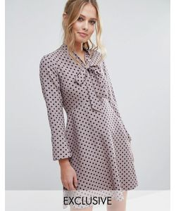 Closet London | Платье В Горошек С Завязкой На Бант И Расклешенными Рукавами Closet