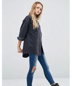 Asos | Черная Джинсовая Рубашка Бойфренда