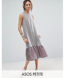ASOS PETITE | Полосатое Платье Миди С Контрастной Тканой Оборкой По Краю