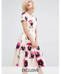 Horrockses | Атласное Платье Для Выпускного С Ярким Цветочным Принтом Iris