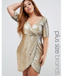 Boohoo Plus | Платье Размера Плюс С Запахом И Пайетками