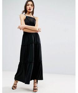 Asos | Платье Макси С Кружевными Вставками И Отделкой Помпонами