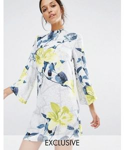 Every Cloud   Короткое Приталенное Платье С Высокой Горловиной И Цветочным Принтом