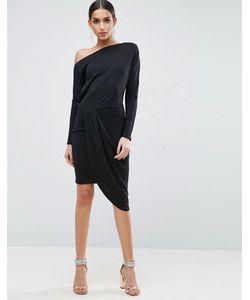 Asos | Облегающее Платье Миди На Одно Плечо С Драпировкой