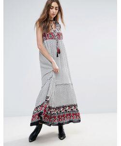 Raga | Платье Макси С Принтом На Кокетке И По Нижнему Краю