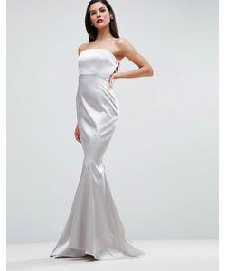 Asos | Атласное Платье Макси С Лифом-Бандо Carpet