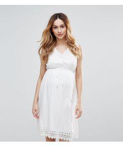 Mama Licious | Короткое Приталенное Платье С Ажурной Отделкой