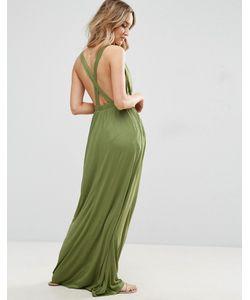Asos | Трикотажное Пляжное Платье Макси С Перекрестом На Спине