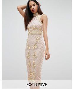 Starlet   Платье Миди С Высокой Горловиной Отделкой Жемчугом