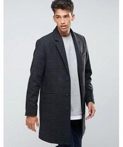 Asos | Темно-Серое Пальто В Клетку С Добавлением Шерсти