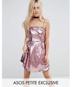 ASOS PETITE | Розовое Платье Мини Для Выпускного С Пайетками