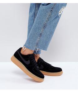 Nike | Черные Замшевые Кроссовки На Резиновой Подошве Air Force 1 07