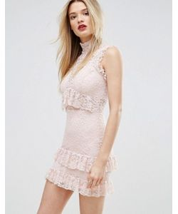 MISSGUIDED | High Neck Ruffle And Lace Bodycon Dress