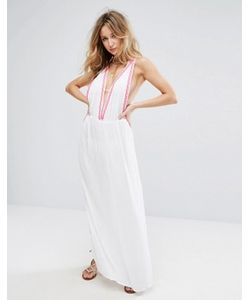 Liquorish   Embroidered Beach Maxi Dress With Embroidered Hem And Coin Trim