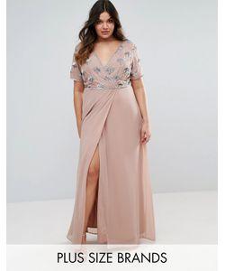 Lovedrobe Luxe | Платье Макси С Запахом И Декорированным Лифом