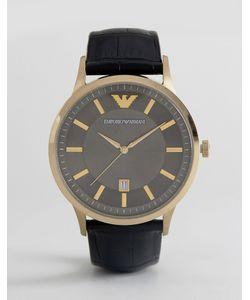 Emporio Armani | Часы 43 Мм С Черным Кожаным Ремешком Ar11049