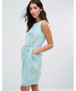 Closet London | Платье С Присборенной Талией И Карманами Closet Blu