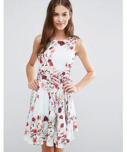 Yumi | Короткое Приталенное Платье С Цветочным Принтом