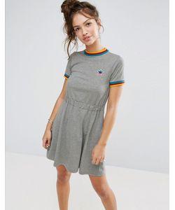 Asos | Короткое Приталенное Платье С Разноцветным Кантом