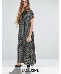 Reclaimed Vintage | Платье Миди С Высокой Горловиной Кружевной Вставкой И Цветочным Принтом Reclaimed