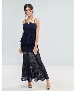 Love Triangle | Lace Peplum Maxi Dress