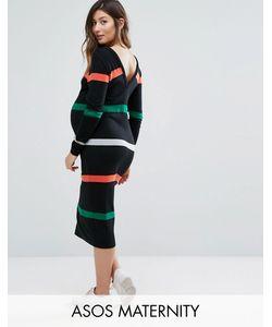 ASOS Maternity   Платье-Джемпер В Полоску С V-Образным Вырезом На Спине