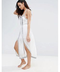 Anmol | Пляжное Платье Миди С Вышивкой И Разрезами