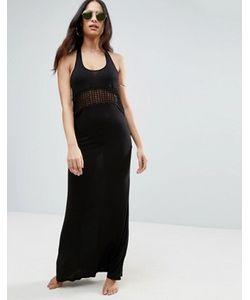 Asos   Пляжное Трикотажное Платье Макси С Решетчатой Вставкой