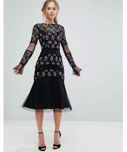 Frock and Frill | Платье Миди С Декоративной Отделкой