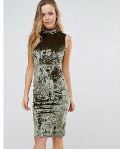 Wal G | Облегающее Бархатное Платье С Высоким Воротом