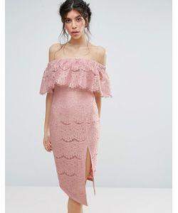 Love Triangle | Кружевное Платье С Открытыми Плечами И Высоким Разрезом
