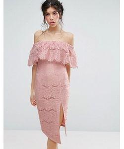 Love Triangle | Lace Bardot Dress With Thigh Split