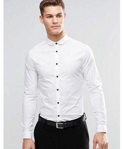 Asos | Зауженная Рубашка С Закругленным Воротником И Контрастными Пуговицами