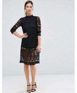 Amy Lynn | Кружевное Платье Миди С Длинными Рукавами